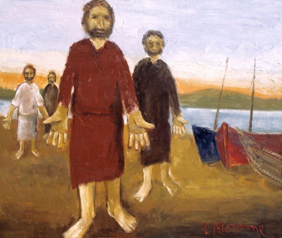 Roeping van de vissers, schilderij van Luc Blomme