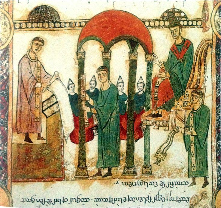 Illustratie van een 'exsultet-rol', Bari (It.), 11de eeuw © Archivio capitolare Bari