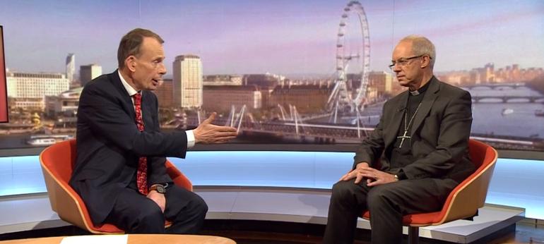 Aartsbisschop Welby op BBC © BBC