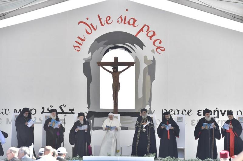 Het motto van de ontmoeting in Bari: Su di te sia pace - Vrede zij met u © VaticanMedia