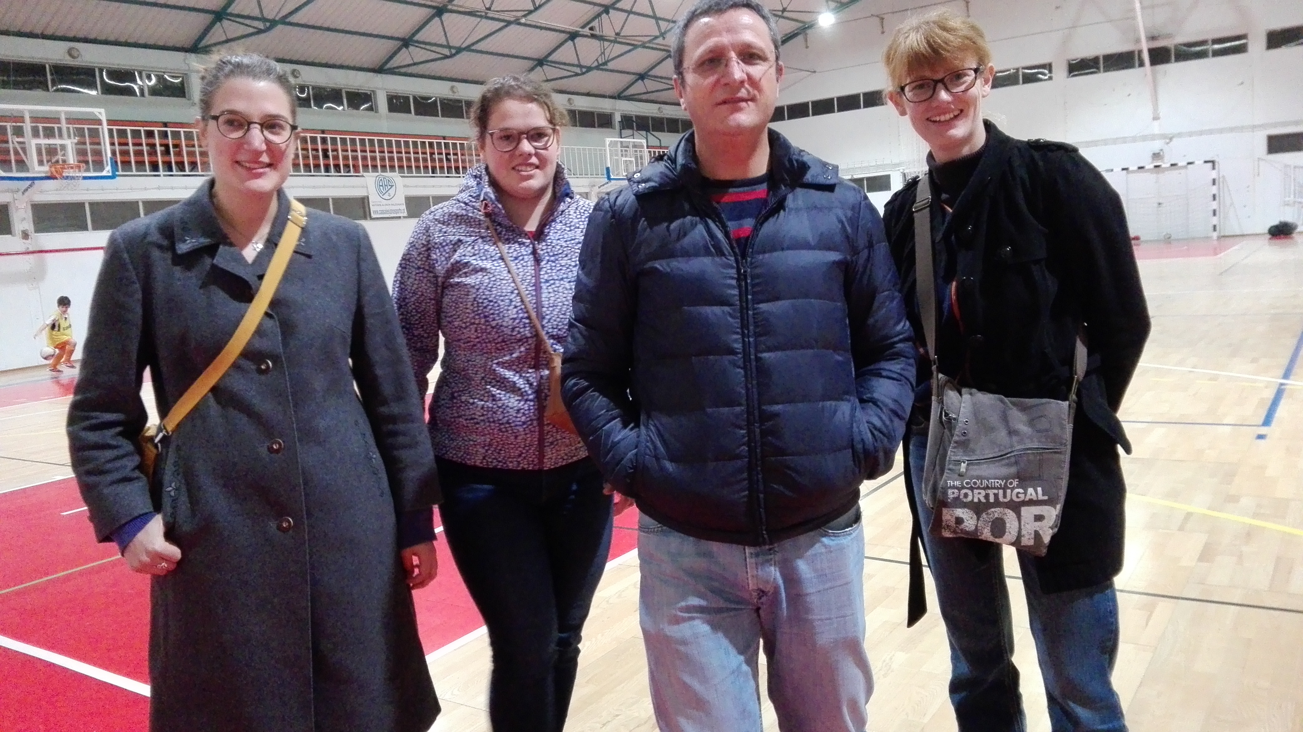 Charlotte Braeckeveldt, Leen Nuyts, Padre João Ramos, Salesiaan uit Porto, en Annelien Boone © IJD-Jongerenpastoraal Vlaanderen