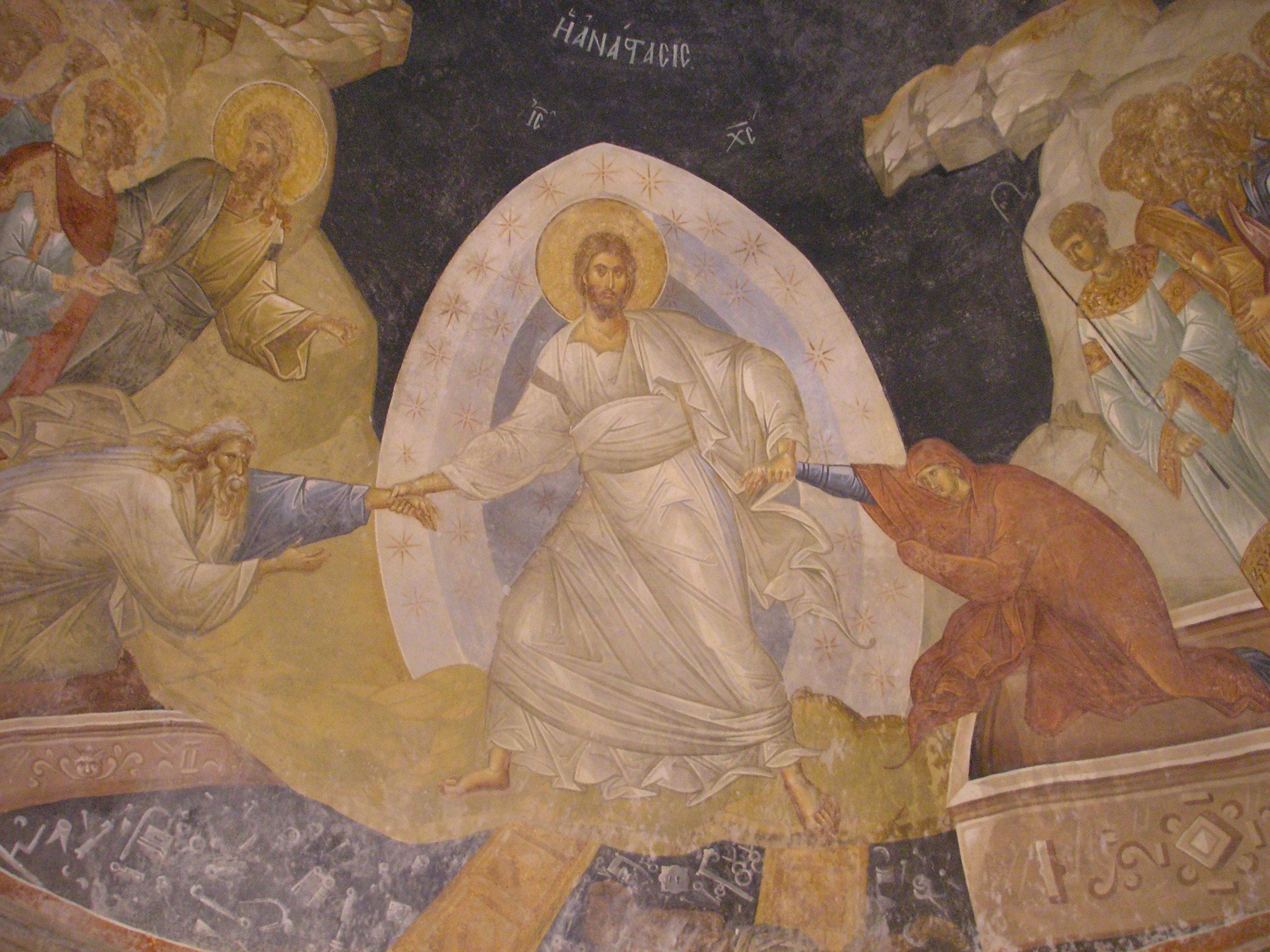 Fresco in de Chorakerk in Istanbul (14de eeuw)