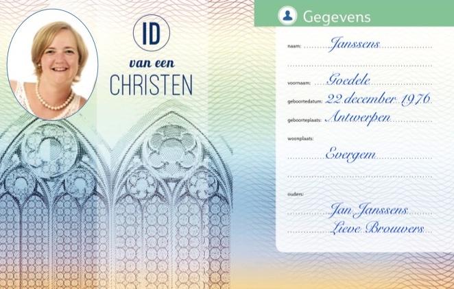 Zo ziet de voorkant van de 'ID van een christen' van Goedele eruit. © Lieve Wouters
