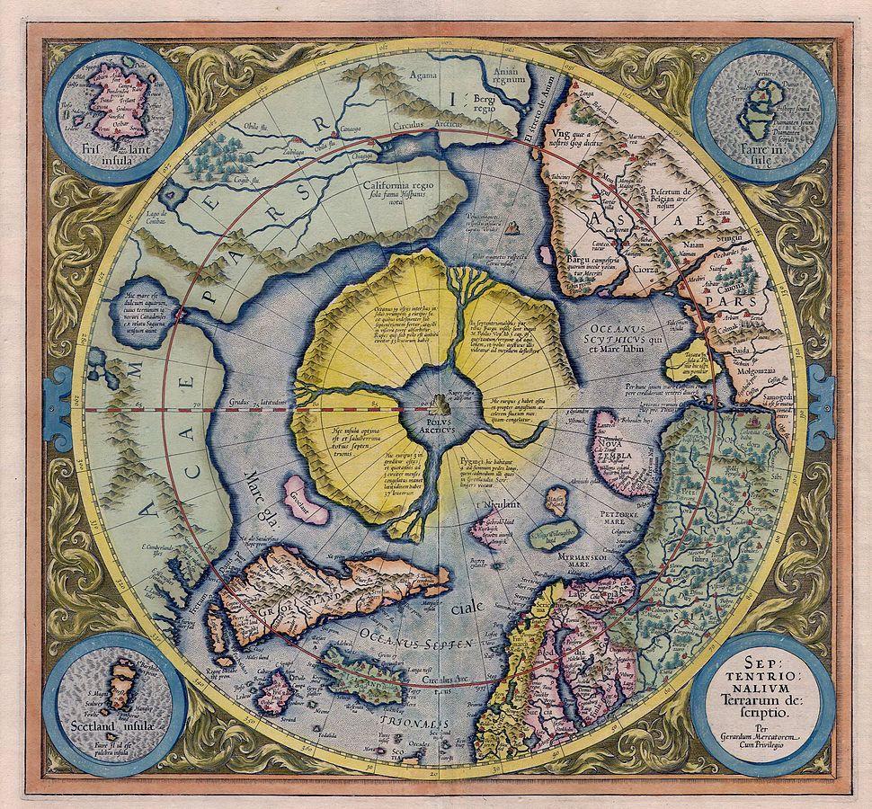 Kaart uit het Septentrionalium Terrarum van Mercator © Wikipedia