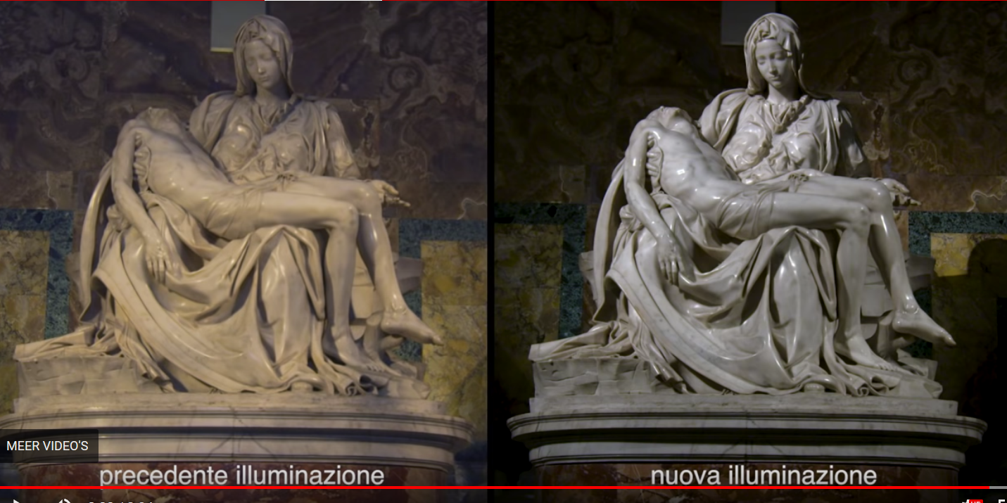 Michelangelo Buonarotti's beroemde Pietà in de Sint-Pietersbasiliek baadt dankzij een ingenieuze ledinstallatie in wisselende lichtstemmingen © VaticanMedia