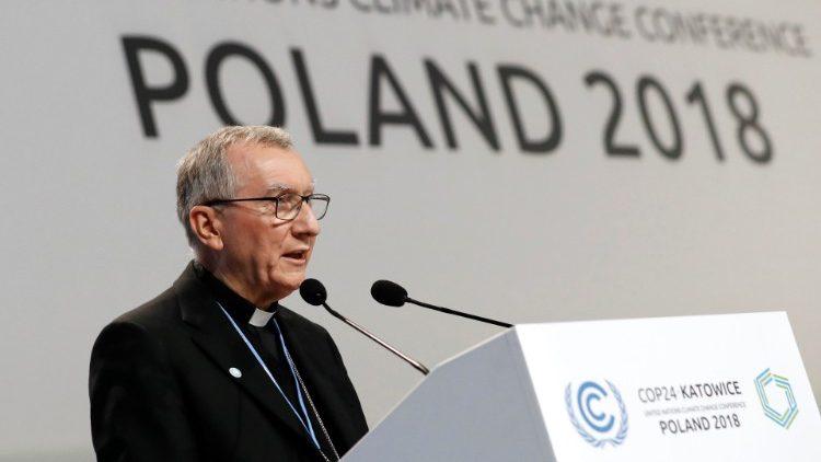 Staatssecretaris Parolin spreekt de klimaatconferentie toe © Vatican Media