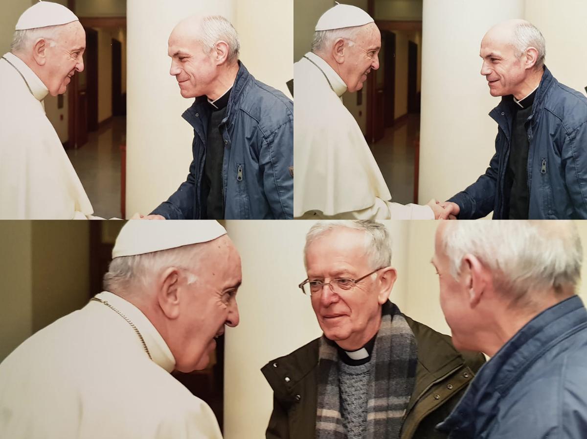 Leo De Weerdt en Guido Van Hoye bij de paus. © rr