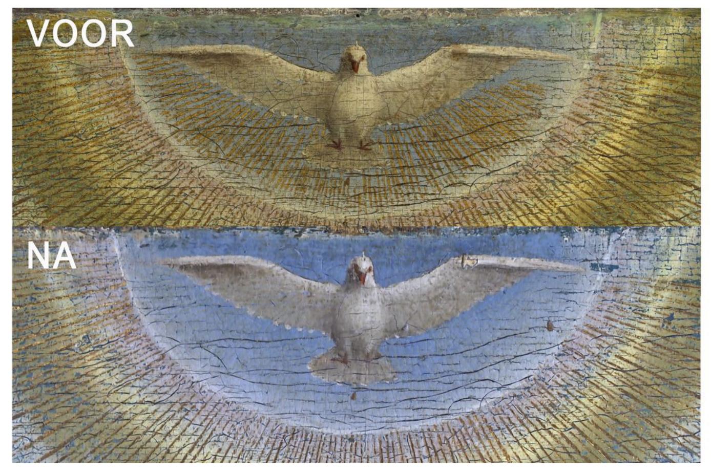 De duif komt nu veel beter tot zijn recht. © Website vrtnws