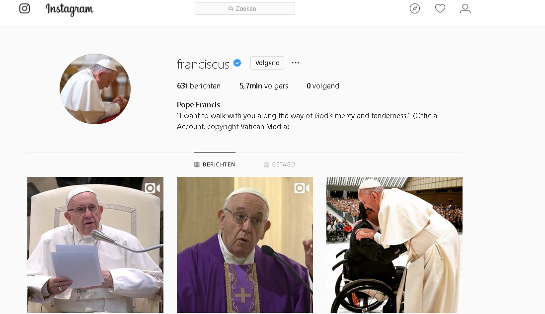 Paus Franciscus op Instagram © Instagram