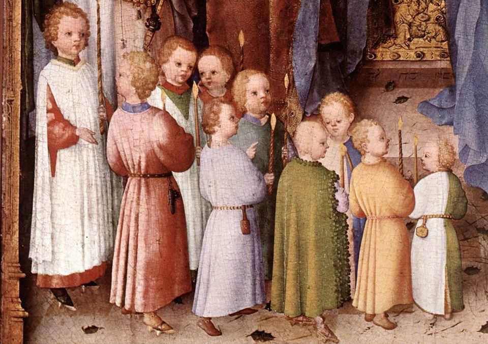 Kinderen vieren Lichtmis in de late middeleeuwen