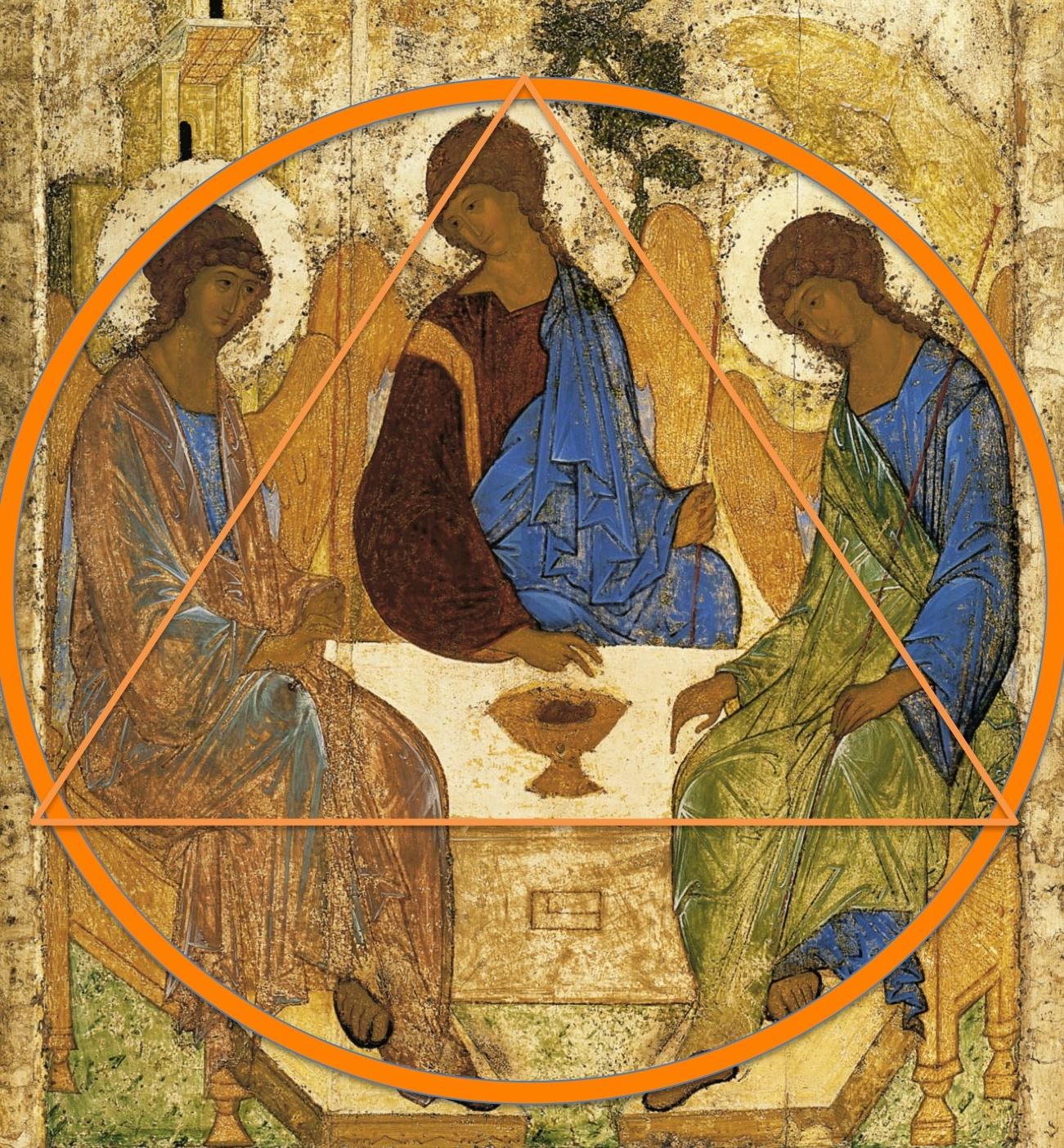 Bemerk de wervelende dynamiek die uitgaat van deze icoon van Roebljov, niet zonder reden de beroemdste icoon, daterend van rond 1410. © Wikicommons
