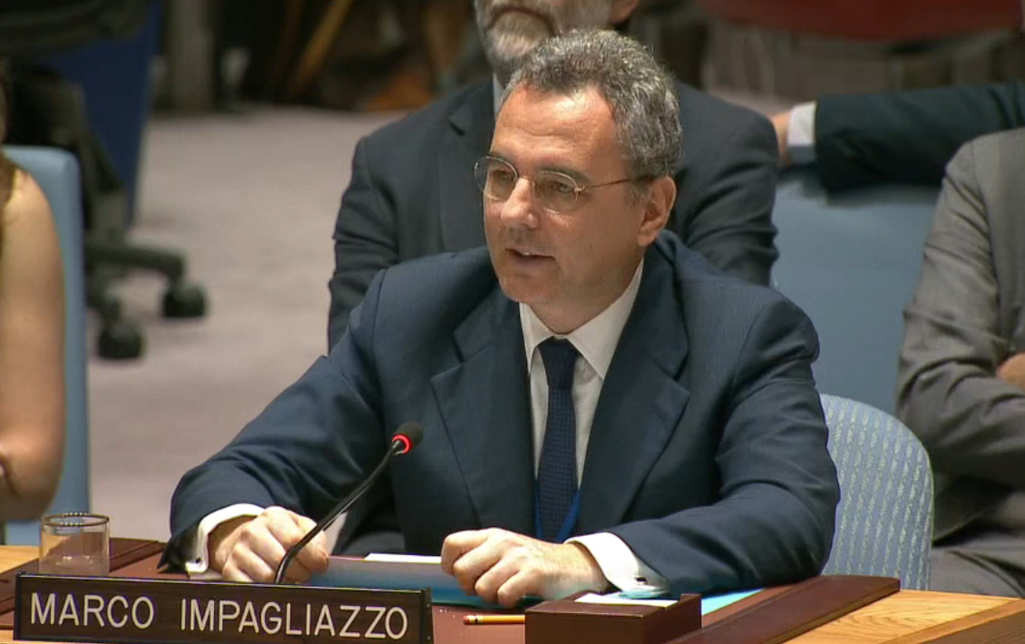 Voorzitter Marco Impagliazzo tijdens de VN-vergadering. © Sant'Egidio