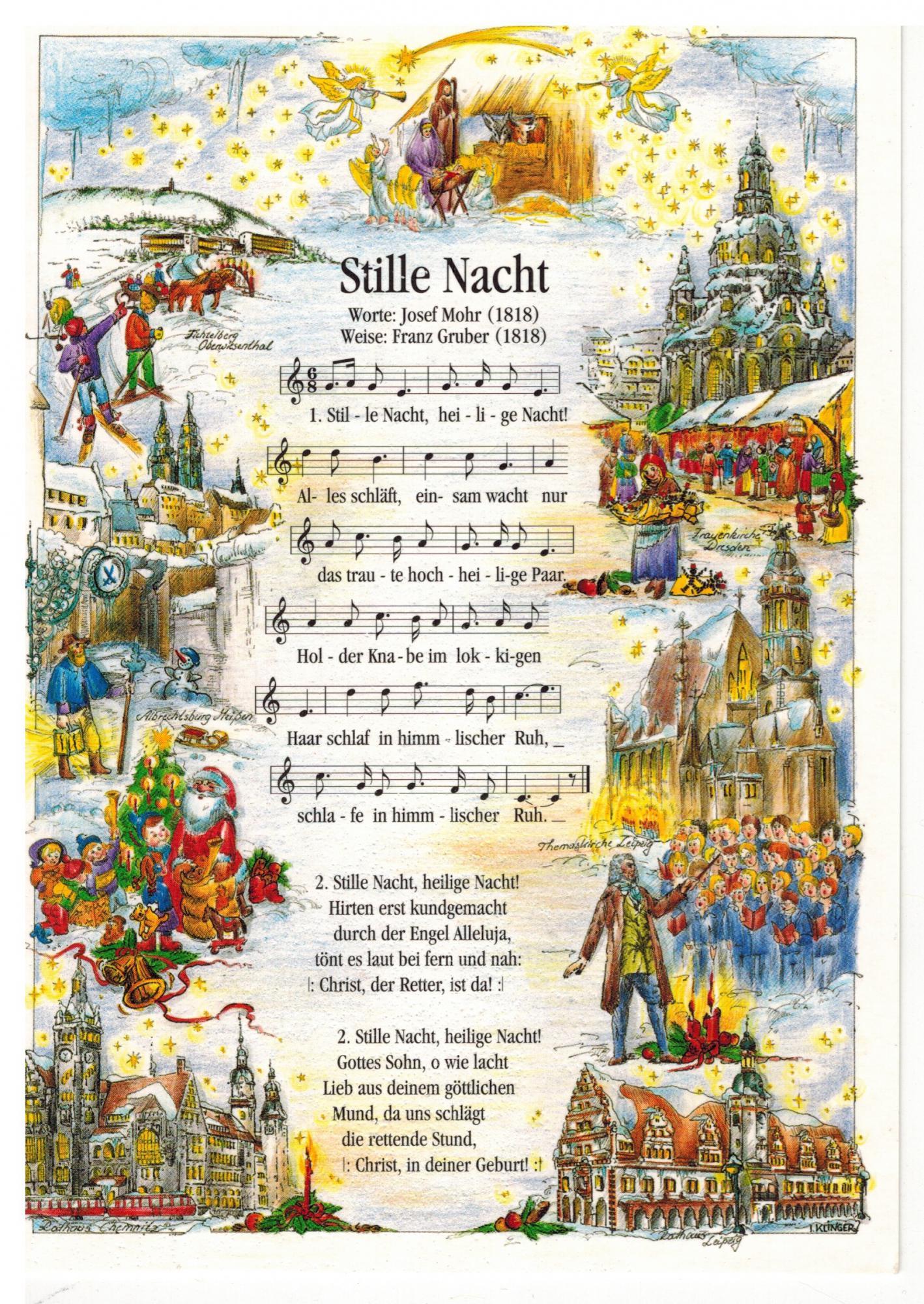 Deze kerstkaart ontving Caritas Van Houdt. Ze dook in de geschiedenis van het 200 jaar oude lied.  © Caritas Van Houdt