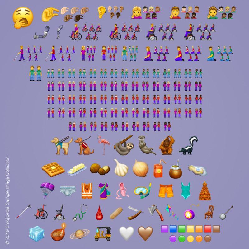Alle nieuwe emoji's van Unicode voor 2019 op Apple. © Unicode