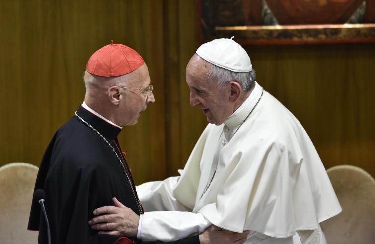 Paus Franciscus met kardinaal Bagnasco © SIR