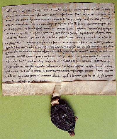 Het Oudenaardse hospitaal krijgt van de bisschop van Doornik een regel, 1224. © Archief zusters bernardinnen