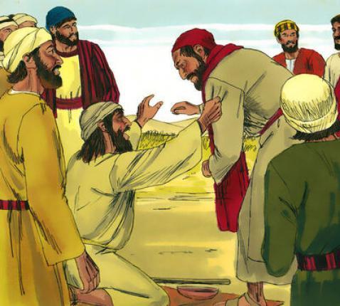 Jezus geneest een blinde man.  © Sweet Publishing / FreeBibleimages.org