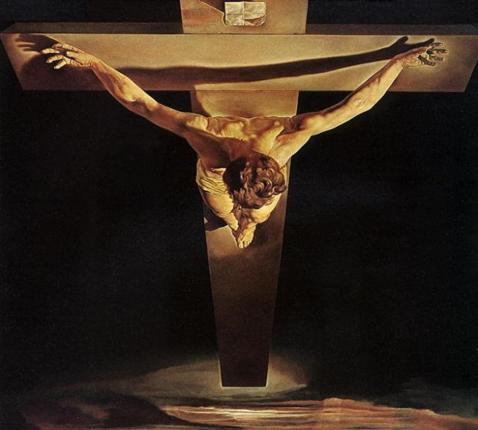 De Gekruisigde roept volgens Maurice Bellet de gelovige op verder te gaan dan wie ook,  waardoor ware menselijkheid mogelijk wordt (schilderij: Salvator Dalí,  De Christus van de heilige Johannes van het Kruis, 1951).  © rr