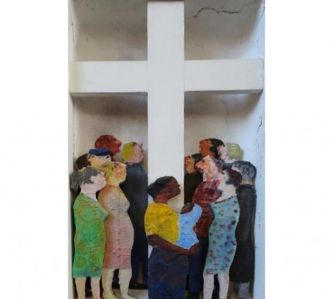 Vijftiende statie: Pasen (kruisweg kerk Bevegem) © Guy Vandesande