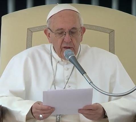 Paus Franciscus tijdens de algemene audiëntie van woensdag 22 maart 2017 © CTV