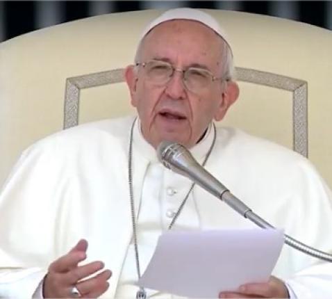 Paus Franciscus tijdens een algemene audiëntie. © CTV