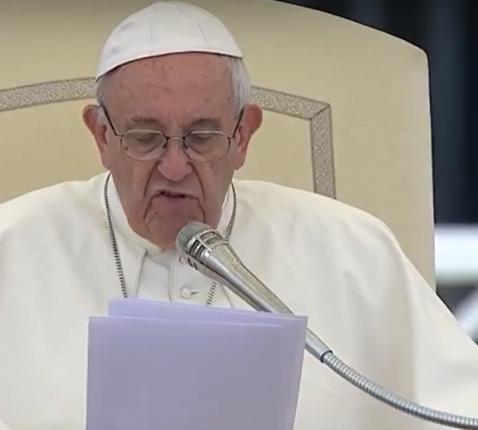 Paus Franciscus tijdens een vorige algemene audiëntie. © CTV