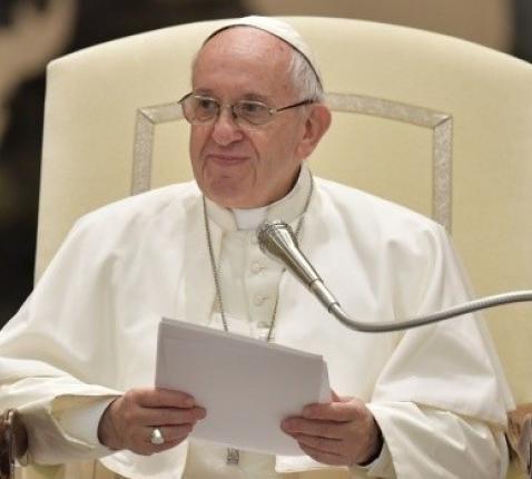 Paus Franciscus tijdens zijn catechese op de algemene audiëntie van woensdag 13 december 2017 © L'Osservatore Romano