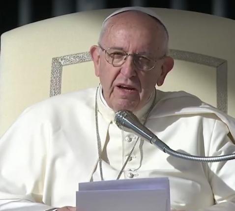 Paus Franciscus tijdens de algemene audiëntie van woensdag 25 oktober 2017 © CTV