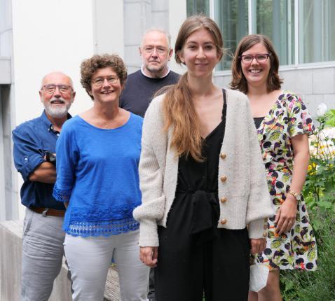 team dienst zorgpastoraat: Jan Rossaert, Ilse Van Gorp, Piet Vandevoorde, Elien Rogiers en Ilse De Deyne © Michiel Van Mulders