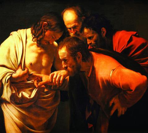Waar was Thomas eigenlijk toen Christus zich een eerste keer toonde? Was hij misschien als enige van de apostelen niet angstig? Was hij al het evangelie gaan verkondigen nog voordat hij Christus verrezen zag? (schilderij: Caravaggio, De ongelovige Thomas. © Wikimedia