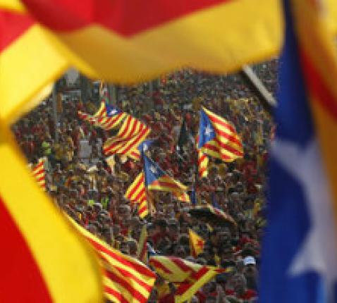 Beel van het straatprotest in Barcelona
