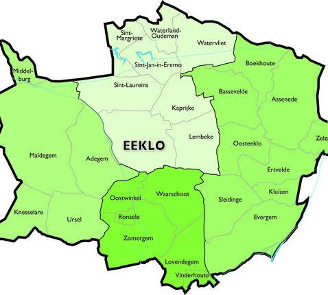 Kaart Dekenaat Eeklo © Bisdom Gent