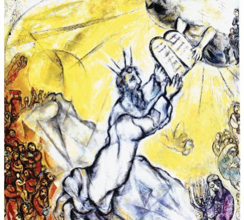 Mozes ontvangt de 10 geboden © Marc Chagall, Nationaal Bijbels Museum, Nice