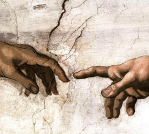 Michelangelo, De schepping van Adam (detail)