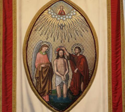 Doop van Jezus door Johannes. Processievaandel uit de kerk van Huizingen.