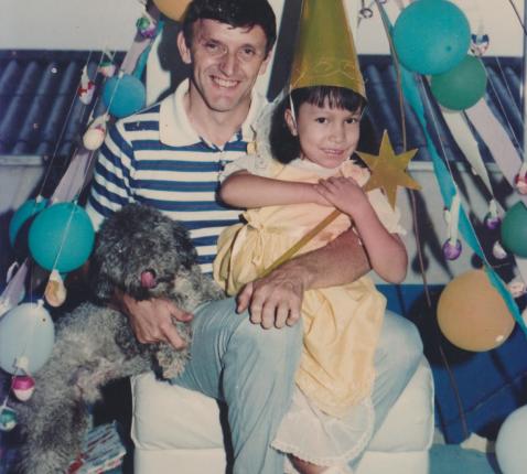 Freddy De Geytere met Alis María, een patiënt met hydrocefalie (1986)