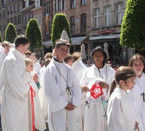 Onze misdienaars op de Vlaamse Misdienaarsdag in Leuven 2015 © Marina Welvaert