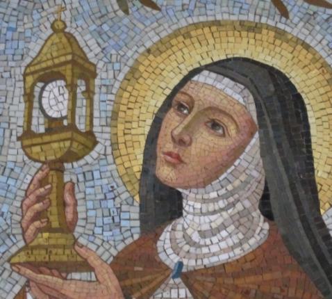 Mozaïek van de heilige Clara.