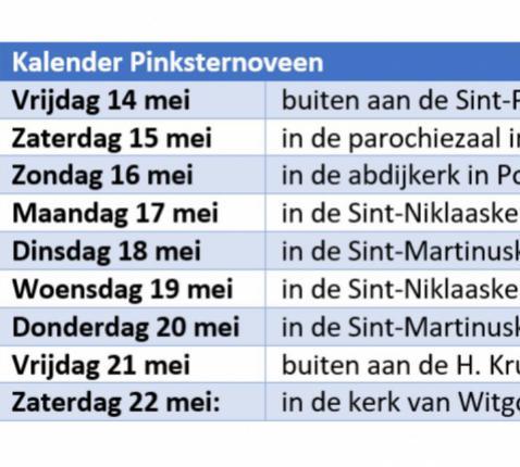 Kalender noveen van Hemelvaart naar Pinksteren