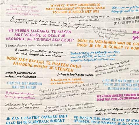 De 'krachtenmuur', een muur van meer dan 200 concrete krachten van mensen in armoede