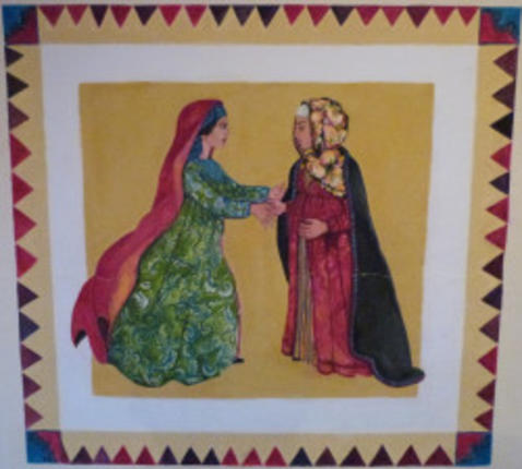 Muurschildering van het bezoek van Maria aan Elisabeth, trappistenabdij in Midelt/Marokko © Charlotte Braeckeveldt