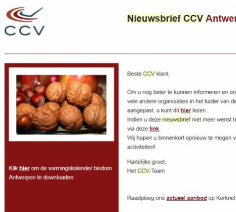 Nieuwsbrief CCV Antwerpen © CCV Antwerpen