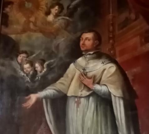 Schilderij van de H. Norbertus in de kapittelzaal in de abijd van Postel. © Pater Nicolaas Gorts