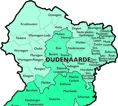 Kaart Dekenaat Oudenaarde © Bisdom Gent