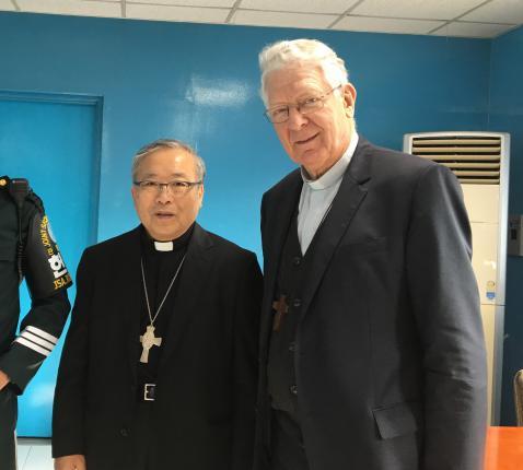 3 november 2017. Op de grens met Noord-Korea met kardinaal Yeom © Bisdom Gent