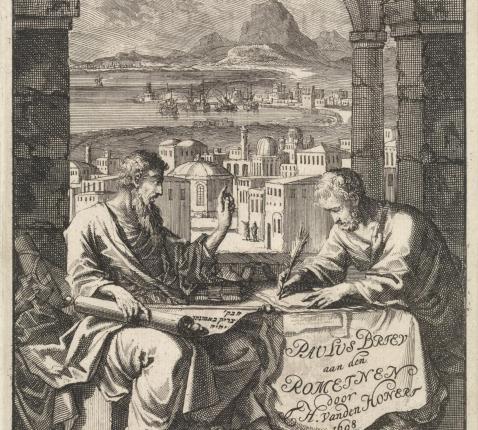 Paulus dicteert Tertius de brief aan de Romeinen, ets van Jan Luyken, 1698  © Rijksmuseum