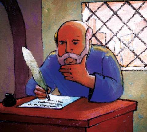 Paulus schrijft een brief © Roel Ottow in 'Hosanna'