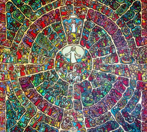 De figuren in het werk van de religieuze kunst van Peter Clare doen denken aan iconen- en glaskunst. In dit schilderij is het hele Marcusevangelie verwerkt. © Peter Clare / Cover 'Ga anders denken', Berne Media en Ignis Webmagazine