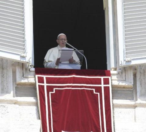 Paus Franciscus tijdens het Regina Coeli © Vatican Media