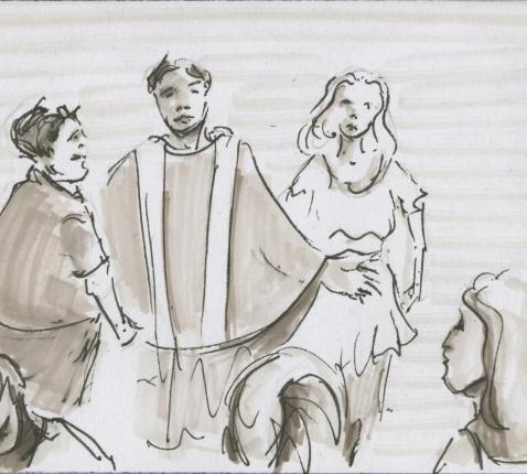 Het vormsel: pinksteren telkens opnieuw © Bisdom Gent, tekening: Koen Van Loocke